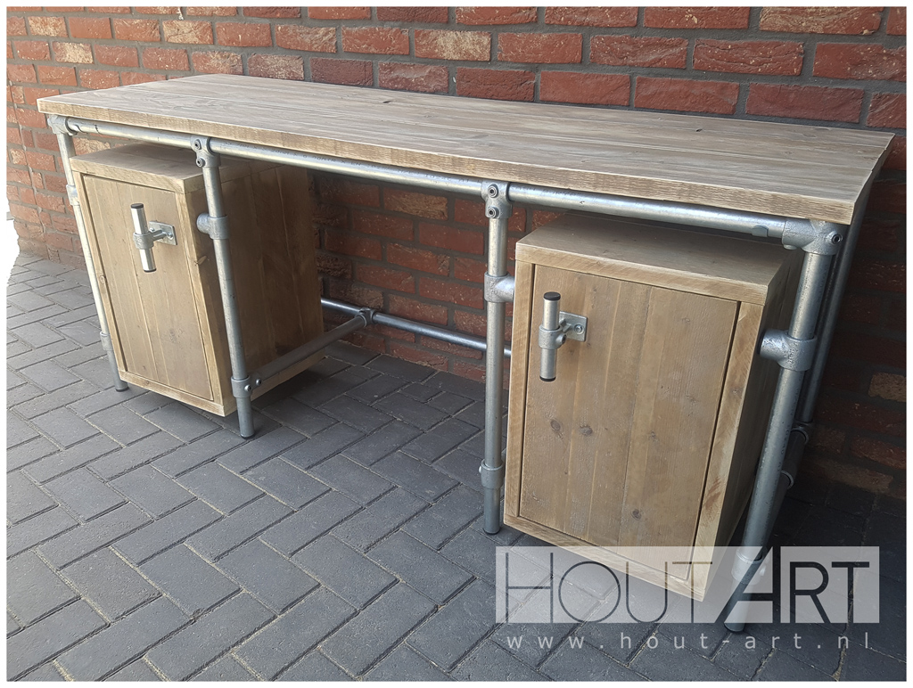 bureaus bureau steigerbuis 2x zwevende kast met steigerhout