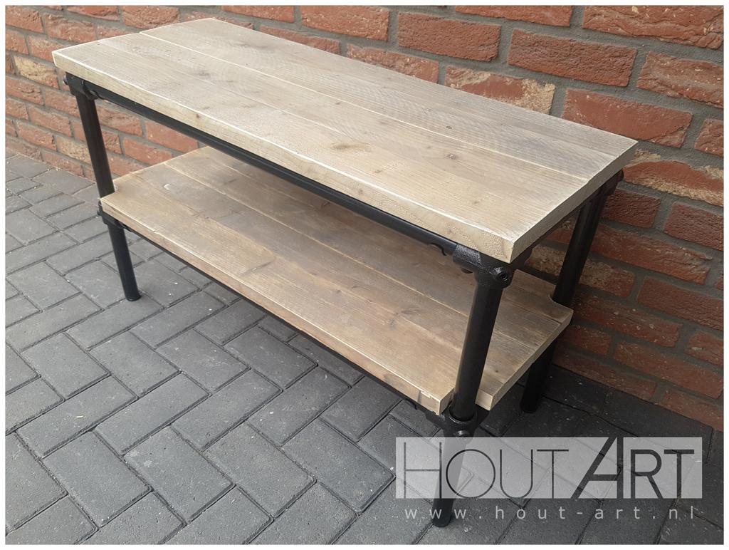 Meubels Met Steigerbuizen : Tv meubels: tv meubel lorenz zwarte steigerbuis met steigerhout